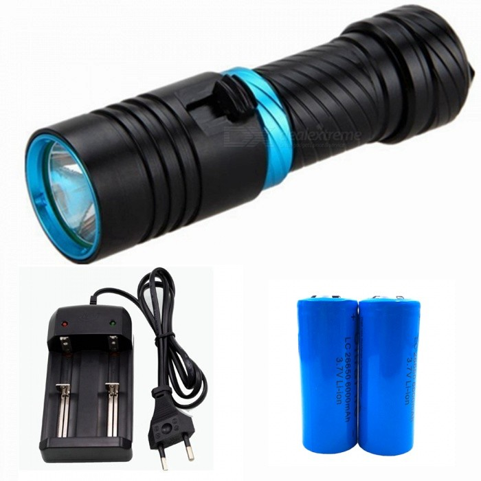 ZHAOYAO T6 Magnetic Push Dimming Bright Light Diving Flashlight with EU Charger + 2Pcs 26650 Batteries