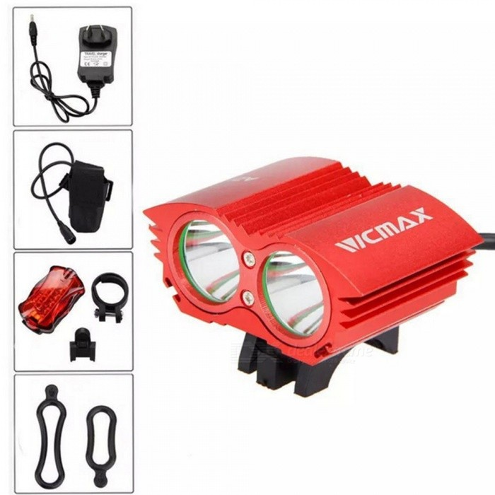 A21 Portable Dual T6 Head USB Rechargeable 4-Mode Bicycle Light Headlight for Outdoor Night Riding - RedBike Lights<br>Form  ColorBlack + RedModelA21 bicycle lightQuantity1 DX.PCM.Model.AttributeModel.UnitMaterialAluminum alloyEmitter BrandOthers,XMLLED TypeOthers,XML U2Emitter BINT6Number of Emitters2Color BINCold WhiteWorking Voltage   8.4V DC DX.PCM.Model.AttributeModel.UnitPower Supply6400mAh battery packCurrent8.4 DX.PCM.Model.AttributeModel.UnitTheoretical LumensUp to 5000 DX.PCM.Model.AttributeModel.UnitActual LumensUp to 5000 DX.PCM.Model.AttributeModel.UnitRuntime8.4V can work 2-3 DX.PCM.Model.AttributeModel.UnitNumber of Modes4Mode ArrangementHi,Mid,Low,Slow StrobeMode MemoryNoSwitch TypeReverse clickyLensGlassReflectorAluminum TexturedFlashlight MountingHandlebarSwitch LocationHeadBeam Range30 DX.PCM.Model.AttributeModel.UnitBike Lamp Interface SizeAdjustableBattery Pack Interface SizeAdjustablePacking List1 x T6 Lamp1 x Battery Pack (4 18650 battery capacity 6400MAH DC voltage: 8.4V can work 2-3 hours continuously)1 x 1 8.4V 1A charger2 x O-rings1 x 5-LED butterfly taillight1 x Leather box packaging<br>