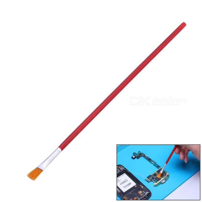 OJADE Soft Cleaning Brush with Wooden Handle for Cell Phone Tablet PCB BGA Maintenance - Red