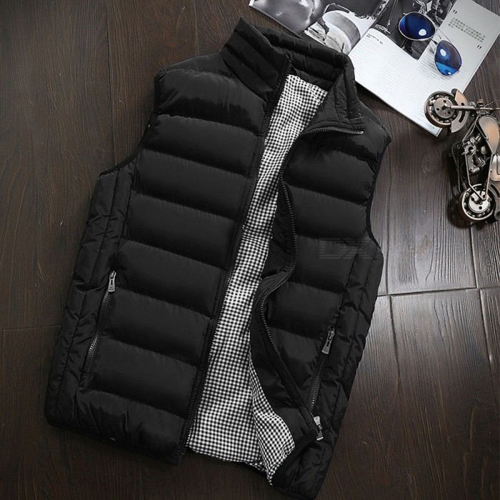 Buy Men's Autumn Winter Warm Sleeveless Jacket Waistcoat Vest Fashion Casual Coat - Black (M) with Litecoins with Free Shipping on Gipsybee.com