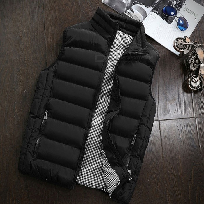 Mens Autumn Winter Warm Sleeveless Jacket Waistcoat Vest Fashion Casual Coat - Black (XXL)Jackets and Coats<br>Form  ColorBlackSizeXXLQuantity1 DX.PCM.Model.AttributeModel.UnitShade Of ColorBlackMaterialPolyesterStyleCasualTop FlyZipperShoulder Width45 DX.PCM.Model.AttributeModel.UnitChest Girth112 DX.PCM.Model.AttributeModel.UnitSleeve Length0 DX.PCM.Model.AttributeModel.UnitTotal Length66 DX.PCM.Model.AttributeModel.UnitSuitable for Height175-180 DX.PCM.Model.AttributeModel.UnitPacking List1 x Vest Coats<br>