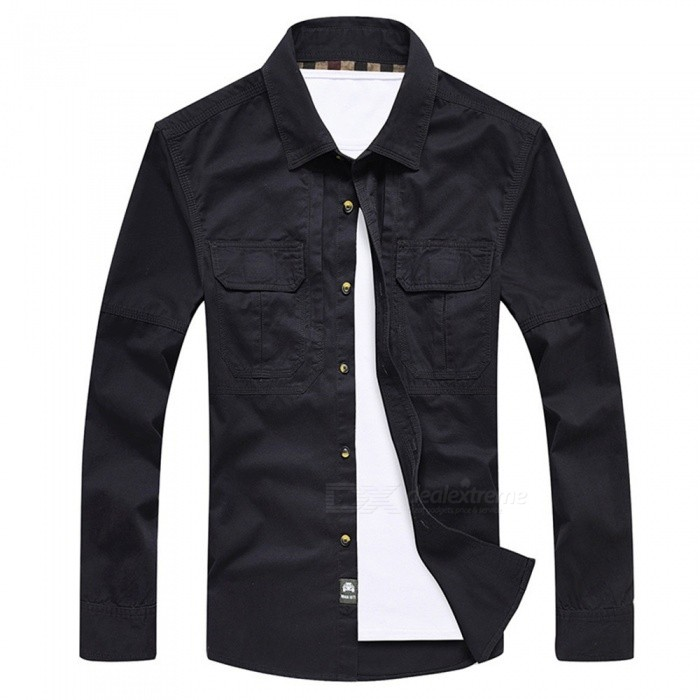 99603 Men's Outdoor Lapel Shirt Cotton Long-Sleeved Shirt Clothing Clothes