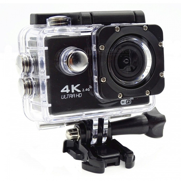 "Portable Waterproof Wi-Fi 12MP HD 2"" TFT LCD Sports Action Camera Suit - Black + White"