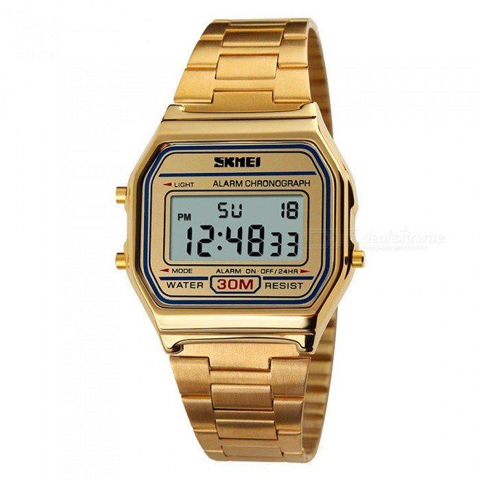 SKMEI 1123 30m Waterproof Men Women Unisex Digital Sports Watch - GoldenSport Watches<br>Form  ColorGoldenModel1123Quantity1 DX.PCM.Model.AttributeModel.UnitShade Of ColorGoldCasing MaterialAlloyWristband MaterialStainless SteelSuitable forAdultsGenderUnisexStyleWrist WatchTypeCasual watchesDisplayDigitalBacklightEL LightMovementDigitalDisplay Format12/24 hour time formatWater ResistantWater Resistant 3 ATM or 30 m. Suitable for everyday use. Splash/rain resistant. Not suitable for showering, bathing, swimming, snorkelling, water related work and fishing.Dial Diameter3.6 DX.PCM.Model.AttributeModel.UnitDial Thickness0.9 DX.PCM.Model.AttributeModel.UnitWristband Length25 DX.PCM.Model.AttributeModel.UnitBand Width2.2 DX.PCM.Model.AttributeModel.UnitBattery1 x CR2016Packing List1 x SKMEI 1123 Watch<br>