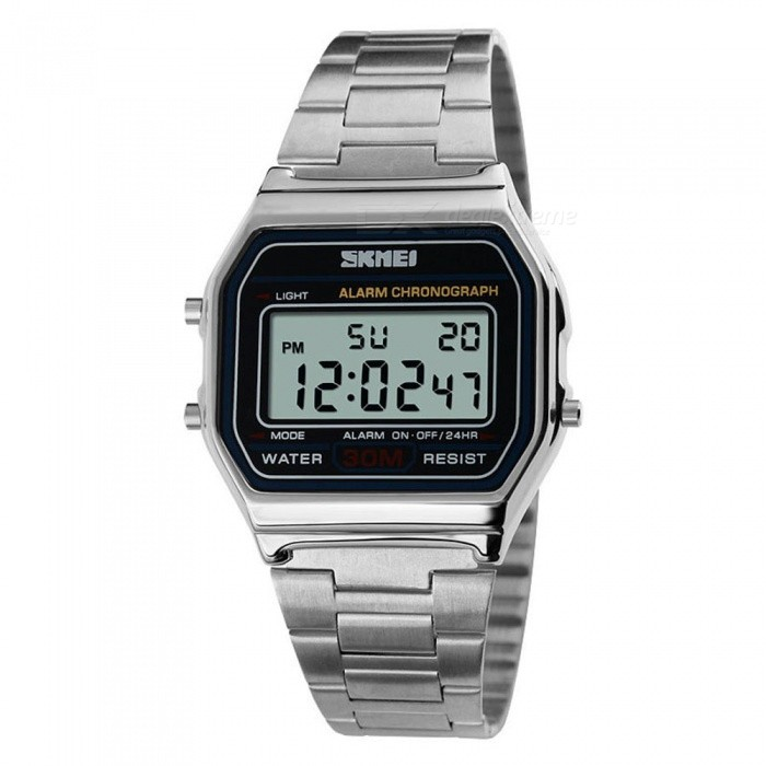 SKMEI 1123 30m Waterproof Men Women Unisex Digital Sports Watch - SilverSport Watches<br>Form  ColorSilverModel1123Quantity1 DX.PCM.Model.AttributeModel.UnitShade Of ColorSilverCasing MaterialAlloyWristband MaterialStainless SteelSuitable forAdultsGenderUnisexStyleWrist WatchTypeCasual watchesDisplayDigitalBacklightEL LightMovementDigitalDisplay Format12/24 hour time formatWater ResistantWater Resistant 3 ATM or 30 m. Suitable for everyday use. Splash/rain resistant. Not suitable for showering, bathing, swimming, snorkelling, water related work and fishing.Dial Diameter3.6 DX.PCM.Model.AttributeModel.UnitDial Thickness0.9 DX.PCM.Model.AttributeModel.UnitWristband Length25 DX.PCM.Model.AttributeModel.UnitBand Width2.2 DX.PCM.Model.AttributeModel.UnitBattery1 x CR2016Form  ColorSilverPacking List1 x SKMEI 1123 Watch<br>