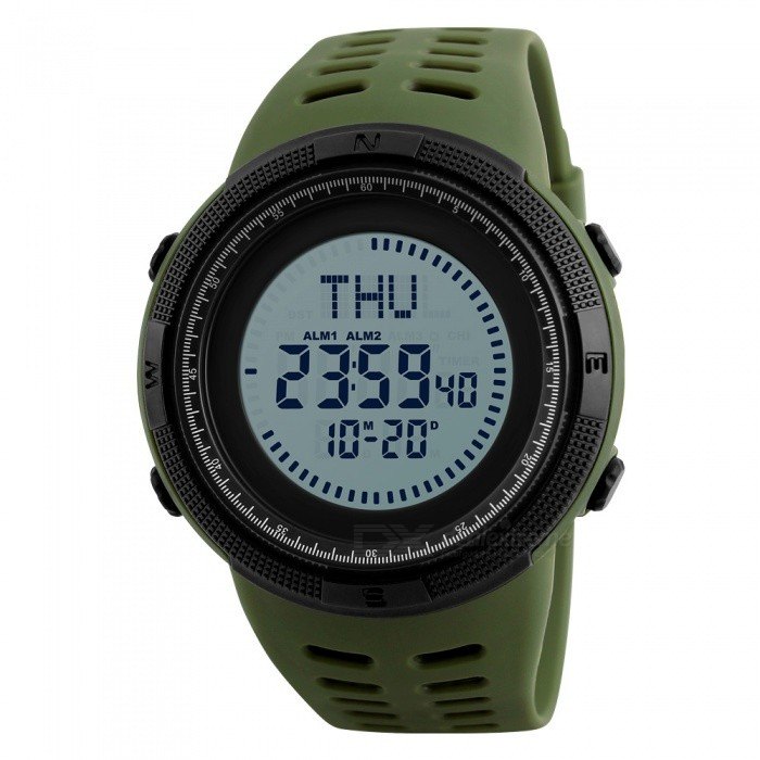 SKMEI 1254 Mens 50M Waterproof Digital Sports Compass Watch with EL Light - Army GreenSport Watches<br>Form  ColorArmy GreenModel1254Quantity1 DX.PCM.Model.AttributeModel.UnitShade Of ColorGreenCasing MaterialABSWristband MaterialPUSuitable forAdultsGenderMenStyleWrist WatchTypeCasual watchesDisplayDigitalBacklightEL LightMovementDigitalDisplay Format12/24 hour time formatWater ResistantWater Resistant 5 ATM or 50 m. Suitable for swimming, white water rafting, non-snorkeling water related work, and fishing.Dial Diameter4.9 DX.PCM.Model.AttributeModel.UnitDial Thickness1.5 DX.PCM.Model.AttributeModel.UnitWristband Length25 DX.PCM.Model.AttributeModel.UnitBand Width2.4 DX.PCM.Model.AttributeModel.UnitBattery1 x CR2032Packing List1 x Watch<br>