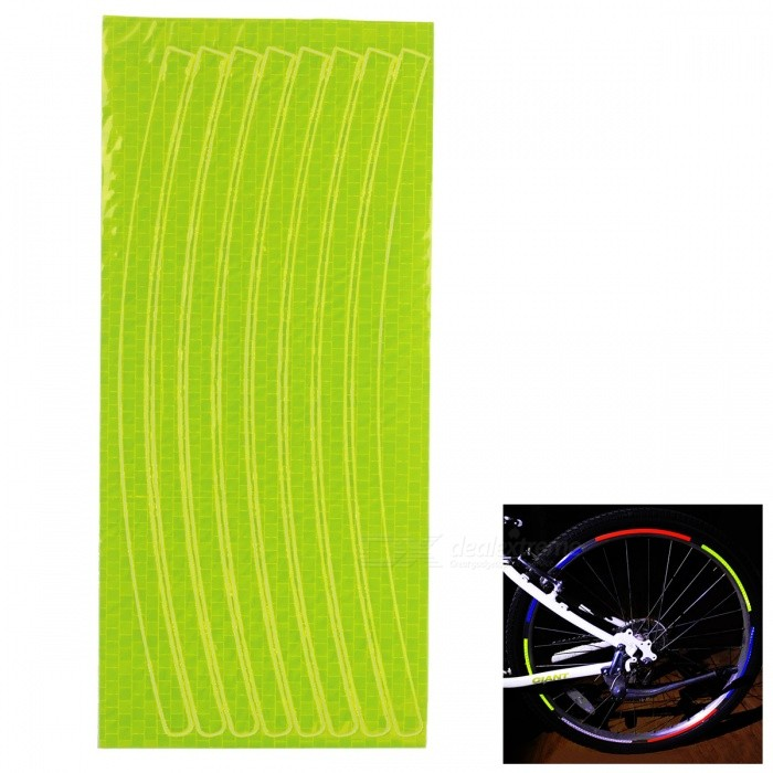 Bicycle Decorative Cool Reflective Stickers Bike Wheel Sticker for 26 Inches Mountain Bike - Fluorescent YellowBike Accessories<br>Form  ColorFluorescent YellowQuantity1 DX.PCM.Model.AttributeModel.UnitMaterialPVCTypeOthers,stickersWaterproofYesBest UseCyclingPacking List1 x Stickers<br>
