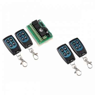 12V Remote Control Switch Receiver with 4Pcs Mini Waterproof Uiltra-Thin 4-Key Transimitters