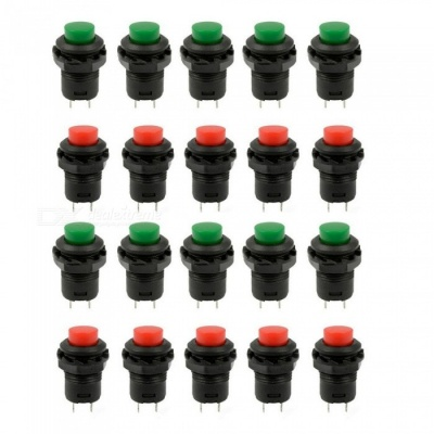 YENISEI Green & Red Cap SPST Latching Type Push Button OFF-ON Switch (20 PCS)