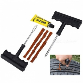 Car Truck Motorbike Tire Repair Tool Kit for Tubeless Emergency Tyre Fast Puncture Plug Air Leaking Repair Tool Black