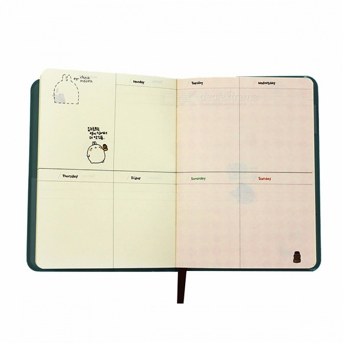 Fromthenon Cute Kawaii Notebook, Cartoon Molang Diary Journal Planner Notepad w/ Colorful Inner for
