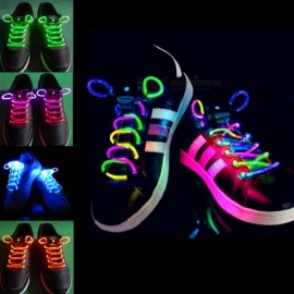 2Pcs Fashion LED Luminous Shoelaces Shoe Laces, Flashing Light Up Glow Stick Strap Neon Shoe Strings for Disco Party  Blue
