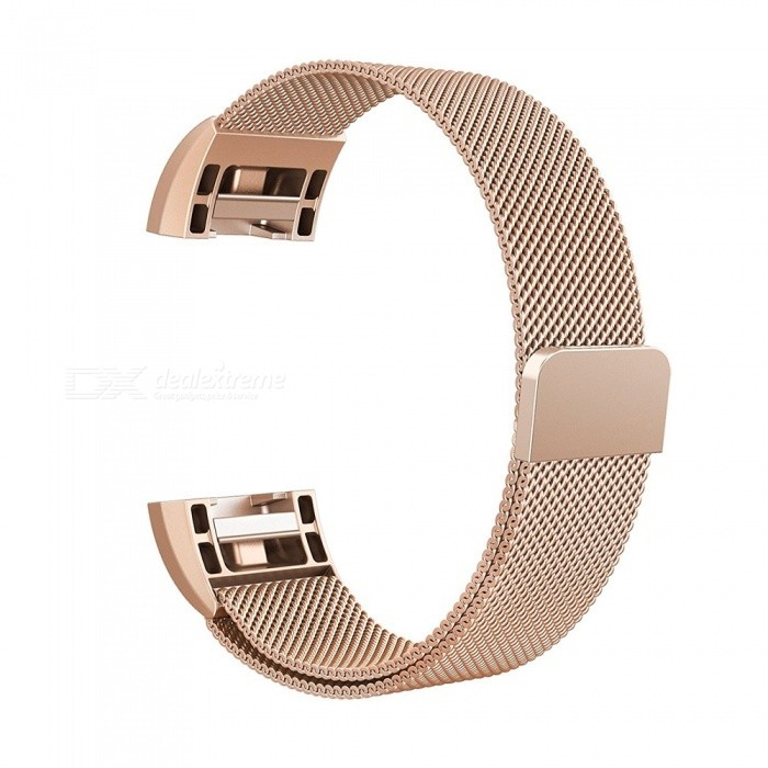 Miimall Milanese Loop Stainless Steel Watch Wrist Replacement Band for Fitbit Charge 2 - Rose Gold