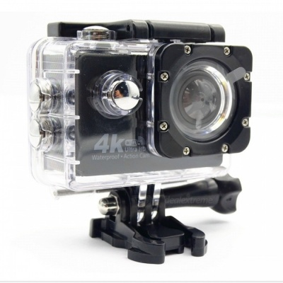 """Portable Waterproof HD 4K 16MP 4.0X Zooming Wi-Fi 2"""" Action Sports Camera - Black + White"""