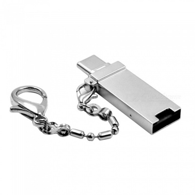 2-in-1 USB 3.1 Type-C to USB 3.0 Female + Micro SD TF Card Reader, OTG Adapter - Silver