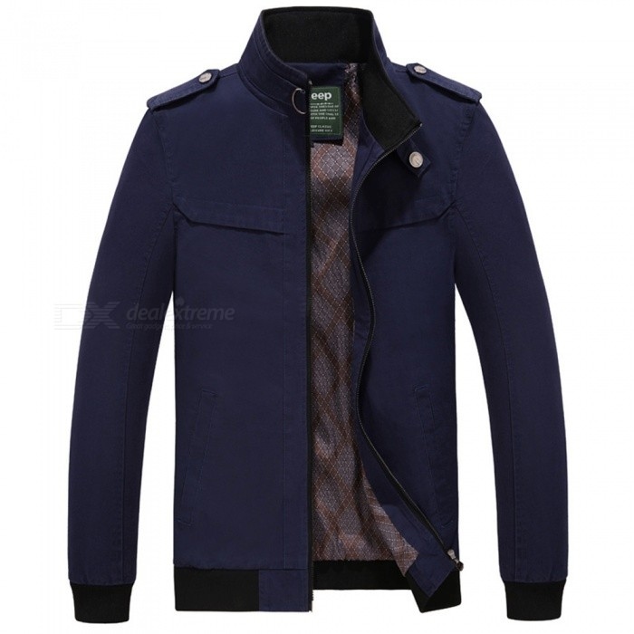 7715 Outdoor Mens Stylish Slim Cotton Jacket Coat - Dark Blue (M)Jackets and Coats<br>Form  ColorDeep BlueSizeMModel7715Quantity1 DX.PCM.Model.AttributeModel.UnitShade Of ColorBlueMaterialSurface and polyesterStyleFashionTop FlyZipperShoulder Width45 DX.PCM.Model.AttributeModel.UnitChest Girth106 DX.PCM.Model.AttributeModel.UnitWaist Girth106 DX.PCM.Model.AttributeModel.UnitSleeve Length61 DX.PCM.Model.AttributeModel.UnitTotal Length65 DX.PCM.Model.AttributeModel.UnitSuitable for Height170 DX.PCM.Model.AttributeModel.UnitPacking List1 x Coat<br>