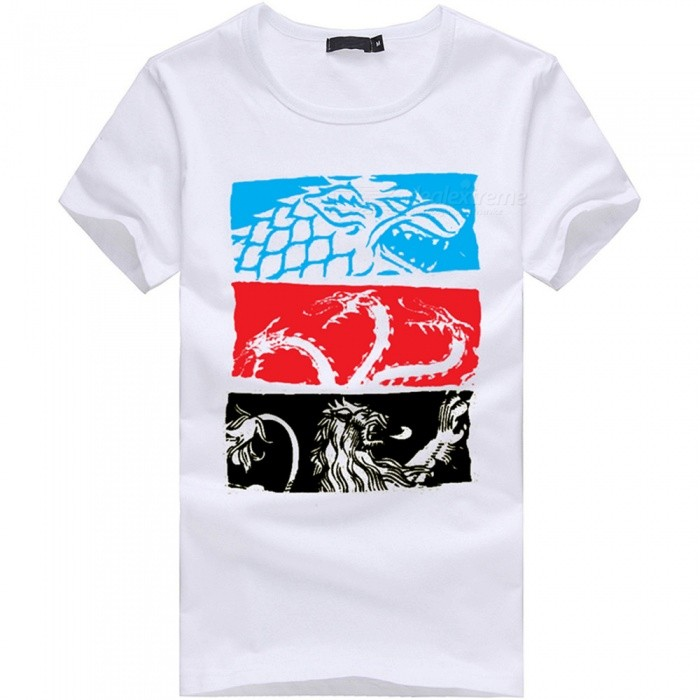 3D Ice And Fire Song Fashion Personality Casual Cotton Short-Sleeved Men's T-shirt