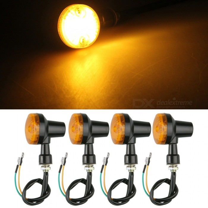 Qook 12V Motorcycle Motorbike Turn Signal Light, Amber Light Halogen Bulb Indicator Lamp (4 PCS)