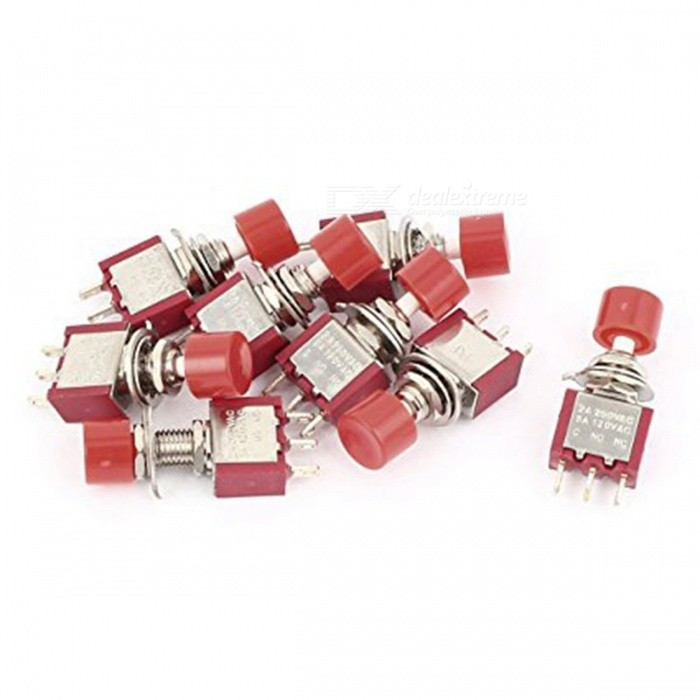 ZHAOYAO DIY Replacement Push Button Momentary Switch - Red (15 PCS)Switches &amp; Adapters<br>Form  ColorRedQuantity15 DX.PCM.Model.AttributeModel.UnitMaterialTin-phosphor bronze + plasticPower Range-Max. Current-Working Temperature- DX.PCM.Model.AttributeModel.UnitOther FeaturesMax. voltage: 250V 2A; Minimum voltage: 120V, 5A; Working temperature: -25~85C; Contact resistance: 0.05ohm; Lifespan: 10000 timesCertificationCEPacking List15 x Switches<br>