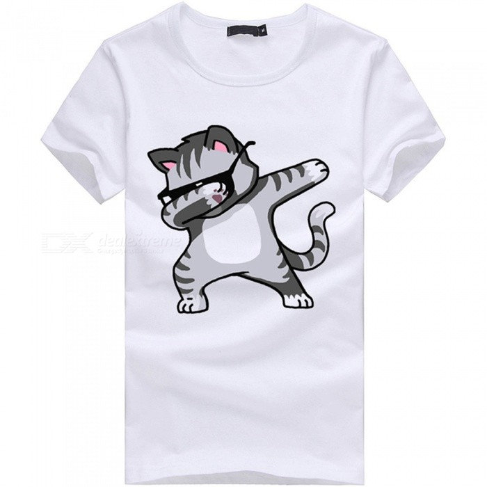 3D Cover Face Cat Pattern Fashion Personality Casual Cotton Short-Sleeved T-Shirt for Men