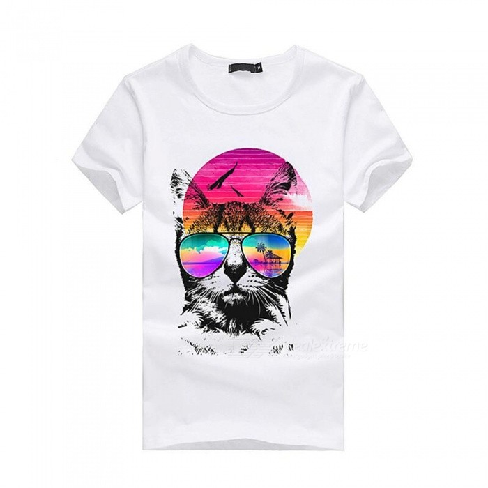 3D Colorful Pattern Fashion Personality Casual Cotton Short-Sleeved T-Shirt for Men