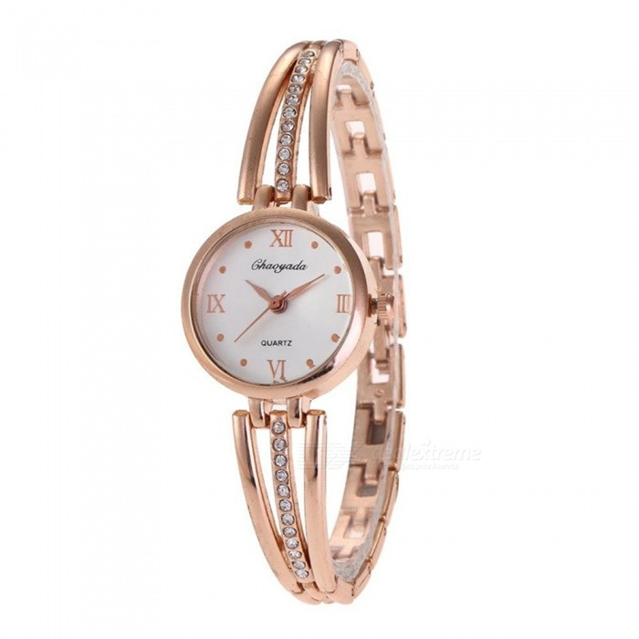 Chaoyada 1121 Rhinestone Bracelet Womens Elegant Quartz Watch - GoldenWomens Bracelet Watches<br>Form  ColorRose GoldModel1121Quantity1 DX.PCM.Model.AttributeModel.UnitShade Of ColorGoldCasing MaterialElectroplating steelWristband MaterialElectroplating steelSuitable forAdultsGenderWomenStyleWrist WatchTypeFashion watchesDisplayAnalogDisplay Format12 hour formatMovementQuartzWater ResistantFor daily wear. Suitable for everyday use. Wearable while water is being splashed but not under any pressure.Dial Diameter2.7 DX.PCM.Model.AttributeModel.UnitDial Thickness1 DX.PCM.Model.AttributeModel.UnitBand Width0.7 DX.PCM.Model.AttributeModel.UnitWristband Length19.7 DX.PCM.Model.AttributeModel.UnitBattery1 x LR626 battery (included)Packing List1 x Watch<br>