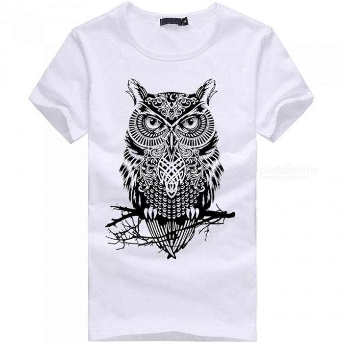 3D Owl Pattern Fashion Personality Casual Cotton Short-Sleeved T-shirt for Men - White (M)