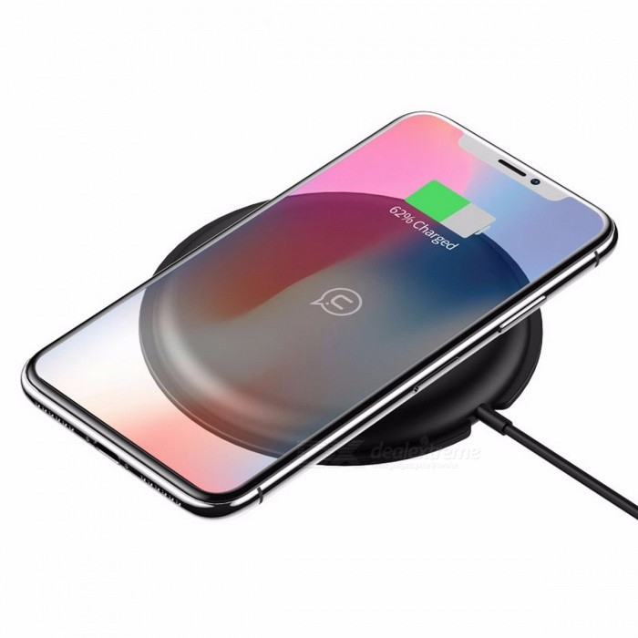USAMS Portable 5V 2A Metal Round Slim Qi Wireless Charger Charging Pad for IPHONE 8, Samsung Galaxy S8, Etc White