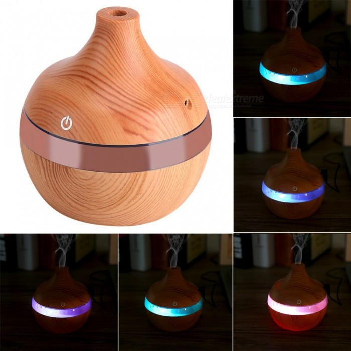BSTUO 300ml USB Aroma Essential Oil Diffuser, Ultrasonic Air Humidifier w/ 7-Color Changing LED Lights