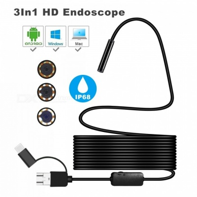 BLCR 8mm Waterproof IP68 1200P HD 3-in-1 Computer Endoscope Tube, 8 LEDs Inspection Borescope Camera (5m)