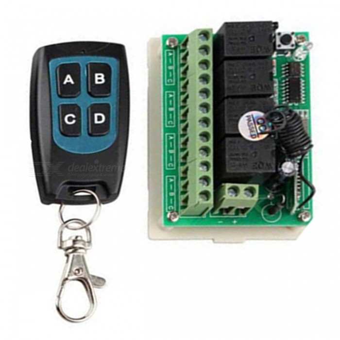 12V-433MHZ-Remote-Control-Switch-Receiver-with-Mini-Waterproof-Ultra-Thin-4-Key-Transimitter