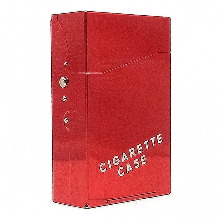 Buy Aluminum Alloy High-Grade 20-Slot Cigarette Case Box for Men, Women - Red with Litecoins with Free Shipping on Gipsybee.com
