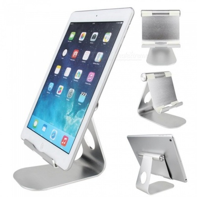 Universal Stylish Aluminum Alloy Adjustable Holder Bracket Support for Tablet PC Cell Phone - Silver