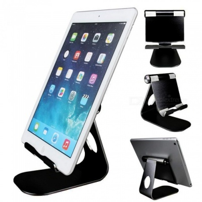 Universal Stylish Aluminum Alloy Adjustable Holder Bracket Support for Tablet PC Cell Phone - Black