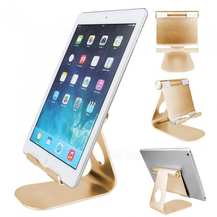 Universal Stylish Aluminum Alloy Adjustable Holder Bracket Support for Tablet PC Cell Phone - Golden