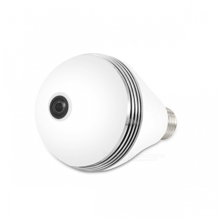 VESKYS 1.3MP 960P 360 Degree Fish Eye Lens Wireless Wi-Fi Full View Light Bulb Shape IP CameraIP Cameras<br>Form  ColorWhitePower AdapterWithout Power AdapterImage Sensor Size1/3ModelN/AMaterialAlloy + ABSQuantity1 DX.PCM.Model.AttributeModel.UnitImage SensorCMOSLensOthers,1.44mmPixels1.3MPViewing AngleOthers,360 DX.PCM.Model.AttributeModel.UnitVideo Compressed FormatH.264Picture Resolution1280* 960Frame Rate25FPSInput/OutputBuilt-in microphone / AudioAudio Compression FormatOthers,G.711Minimum Illumination0.1 DX.PCM.Model.AttributeModel.UnitNight VisionYesIR-LED Quantity48Night Vision Distance10 DX.PCM.Model.AttributeModel.UnitWireless / WiFi802.11 b / g / nNetwork ProtocolTCP,IP,SMTP,uPnP,PPPoESupported SystemsOthers,NOSupported BrowserOthers,NOSIM Card SlotNoOnline Visitor4IP ModeDynamicMobile Phone PlatformAndroid,iOSFree DDNSYesIR-CUTYesBuilt-in Memory / RAMNoLocal MemoryYesMemory CardTFMax. Memory Supported128GBSupported LanguagesEnglish,Simplified ChineseWater-proofNoFocus1.44mmPacking List1 x 360 Degree IP Camera 1 x User Manual<br>