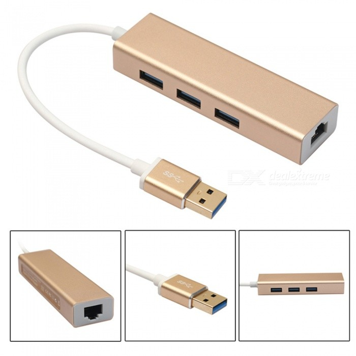 Aluminum USB 3.0 to 3-Port USB 3.0 HUB with RJ45 Gigabit 100M Ethernet