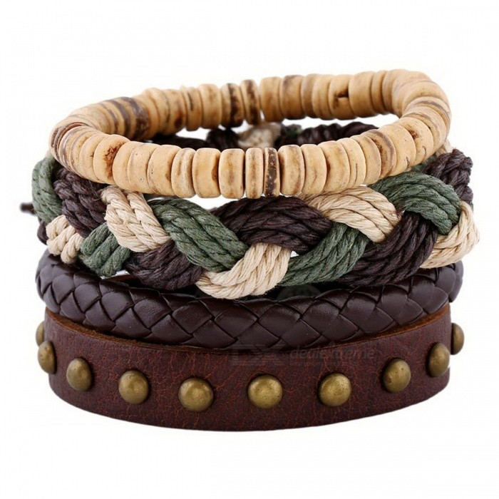 Retro Multilayered Cowhide and Natural Coconut Shell Bracelet