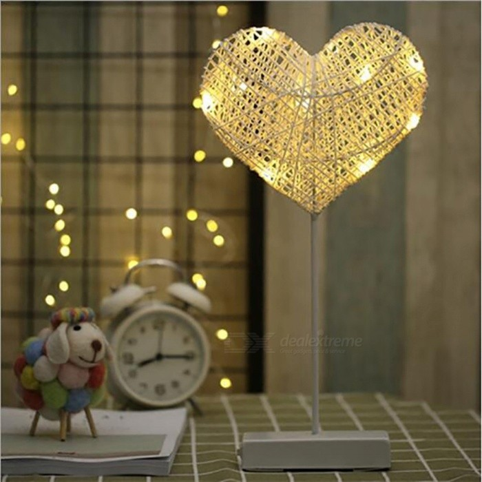 P-TOP Hand-Crafted 40cm LED Night Light, 3 x AA Battery Powered Room Romantic Decorative Night Table Lamp - Love ShapeLED Nightlights<br>Form  ColorWhite - LoveMaterialPlasticQuantity1 DX.PCM.Model.AttributeModel.UnitPower3WRated VoltageAC 220-240 DX.PCM.Model.AttributeModel.UnitColor BINWarm WhiteEmitter TypeLEDDimmableNoBeam Angle360 DX.PCM.Model.AttributeModel.UnitInstallation TypeOthers,-Packing List1 x Night Light (Without battery)<br>