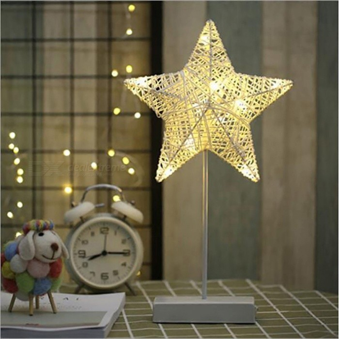 P-TOP Hand-Crafted 40cm LED Night Light, 3 x AA Battery Powered Room Romantic Decorative Night Table Lamp - Star Shape