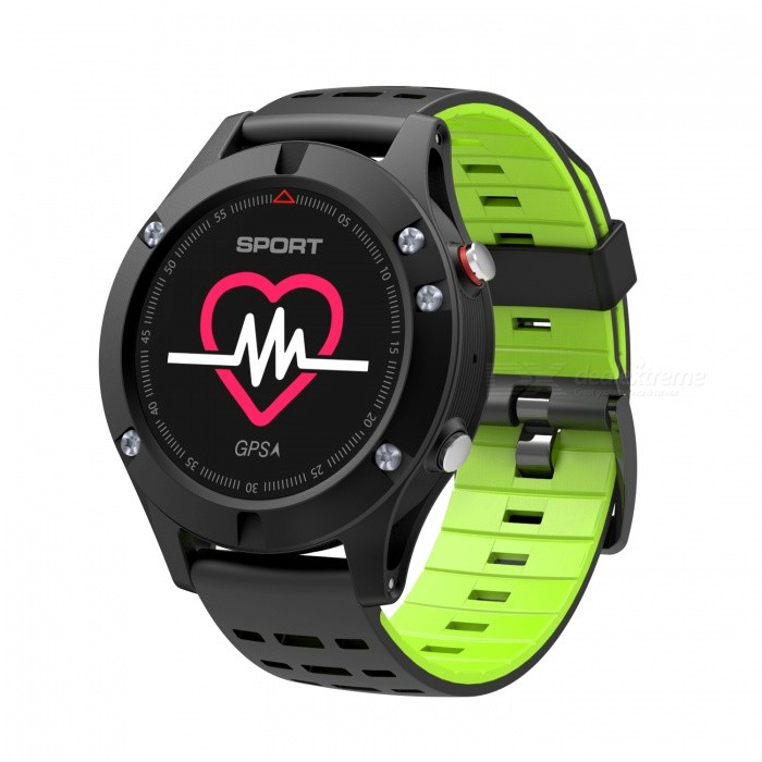 NO.1 F5 Outdoor Sports OLED Color Screen Smart Watch Altimeter with GPS Real Time Heart Rate Monitoring - Black + Green