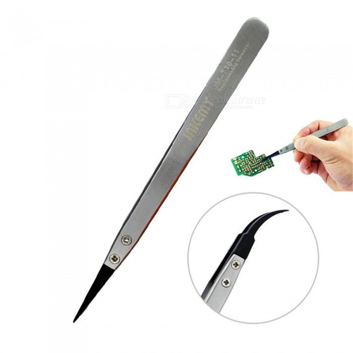 OJADE Stainless Steel Electronic Anti-static Tweezers, Pointed and Curved Replaceable Tips Tweezer Kit