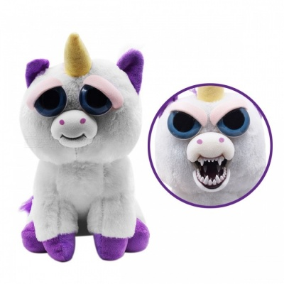 Mischievous Adorable Cute Angry Face Changing Plush Doll Toy Gift for Children - White + Purple