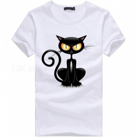 3D-Crouching-Cat-Pattern-Fashion-Personality-Casual-Cotton-Short-Sleeved-Mens-T-shirt-White-(M)