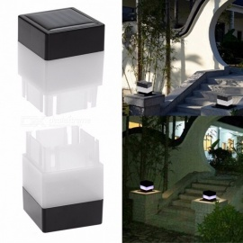 Solar Powered Fence LED Light Outdoor Garden Yard Pool Lamp Floodlights Waterproof  LED Square Light Landscape Lamp Black+White