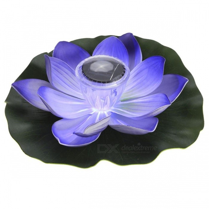 Image of 0.1W Solar Powered Multi-Colored LED Lotus Flower Lamp, RGB Water Resistant Outdoor Floating Pond Night Light for Garden Pool Purple