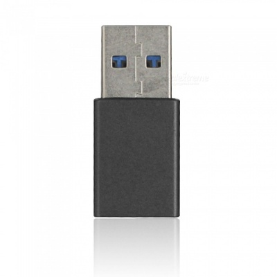 Mini Smile Aluminium Alloy USB 3.1 Type-C Female to USB 3.0 A Male Data Charging Extension Adapter - Deep Grey