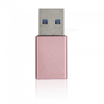 Mini Smile Aluminium Alloy USB 3.1 Type-C Female to USB 3.0 A Male Data Charging Extension Adapter - Rose Gold