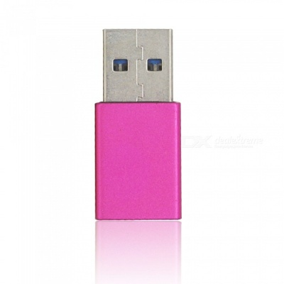 Mini Smile Aluminium Alloy USB 3.1 Type-C Female to USB 3.0 A Male Data Charging Extension Adapter - Deep Red