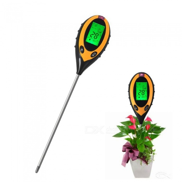 Four-in-One Digital Soil PH Analysis Test Thermometer / Hygrometer with Light